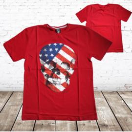 Heren t-shirt Skull rood
