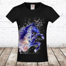 T shirt paard inktverf zwart