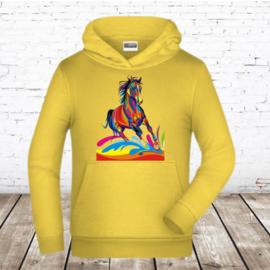 Gele hoodie met paard