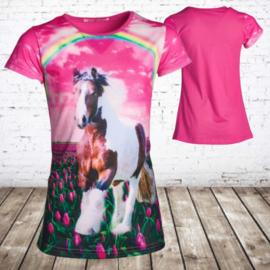 Meisjes shirt met paard en regenboog