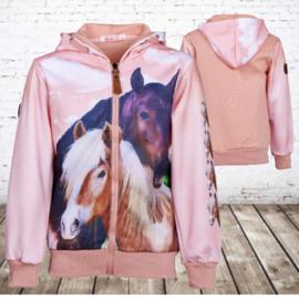 Vest met paarden print roze