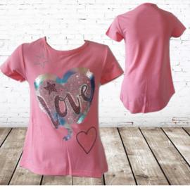 T shirt meisjes Love roze