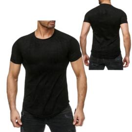 Heren shirt Rib zwart