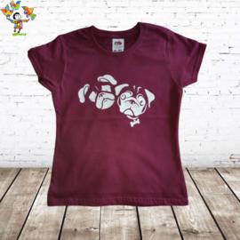 T-shirt Buldog aubergine