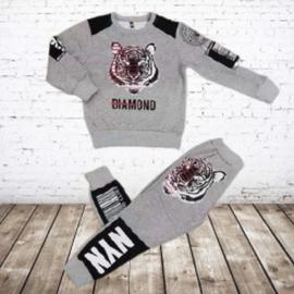 Joggingpak tijger grijs
