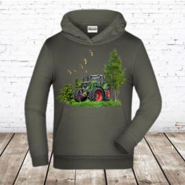 Grijze hoodie met tractor