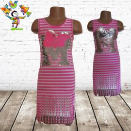 Meisjesjurk roze streep 98/104