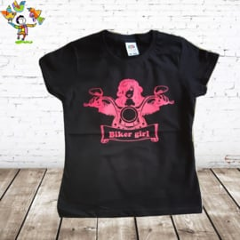 Dames T-shirt Biker Girl zwart
