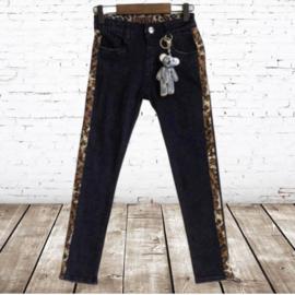 Zwarte broek met panter streep 98/104