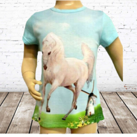 Meisjes t shirt wit paard blauw