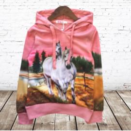 Roze meisjes trui met wit paard H23