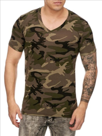 t-shirt heren army groen v hals S