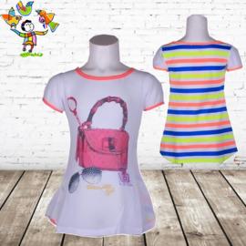 Meisjes t shirt met Tas roze 122/128