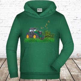Groene hoodie met JD tractor
