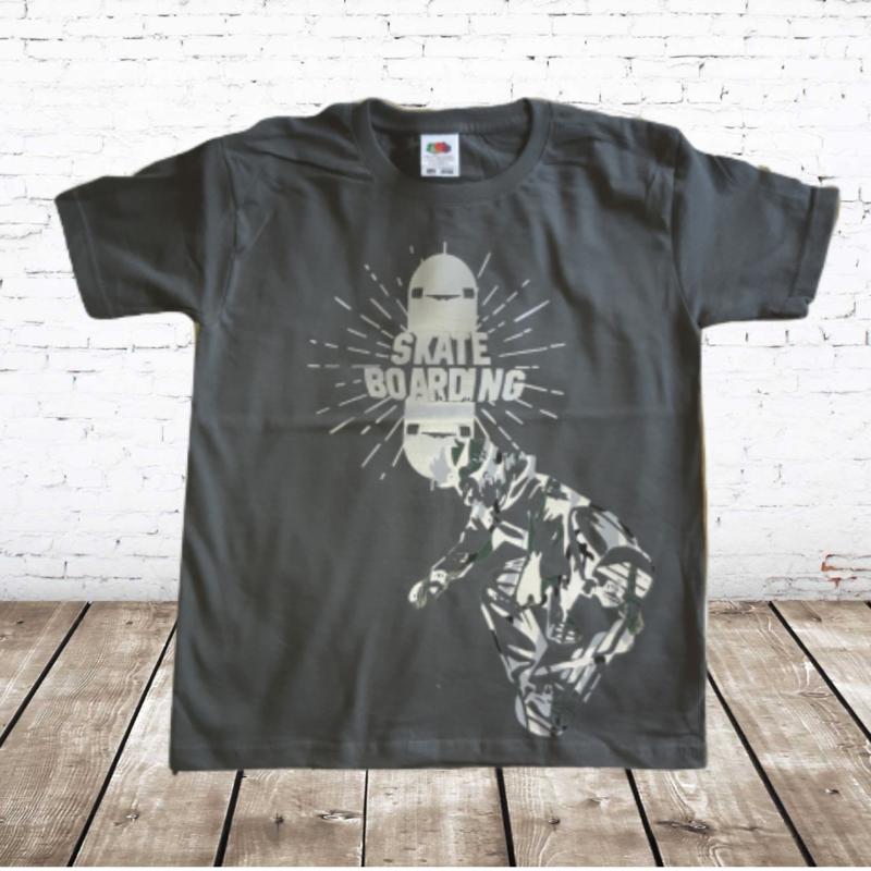 Jongens shirt Skate grijs