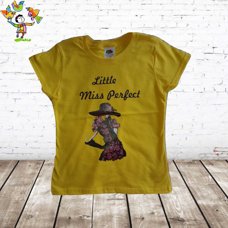 T-shirt Miss Perfect geel
