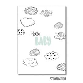 Hello baby | Dubbelgevouwen ansichtkaart met envelop