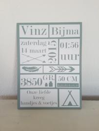 Houten geboortebord Stoer (wit) 30x40