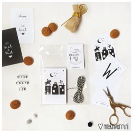 DIY letterslinger zwart wit | Welkom Sint & Piet Wit
