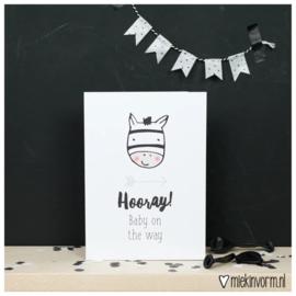 Hooray! baby on the way | Dubbelgevouwen ansichtkaart met envelop