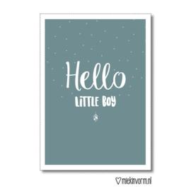Hello little boy | Dubbelgevouwen ansichtkaart met envelop