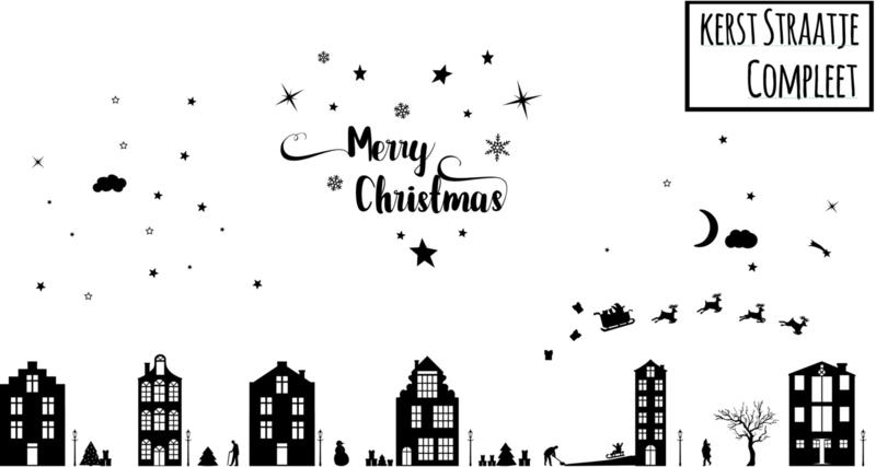Raamsticker kerst straatje (herbruikbaar)
