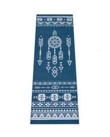 Extra Dikke Yogamat | Donkerblauw met Zilveren Tribal Print