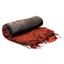 Omslagdoek rood/zwart/oranje gestreept