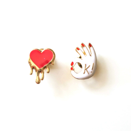 OK & heart pins