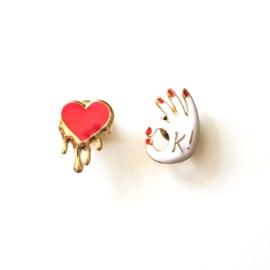 OK & heart pins