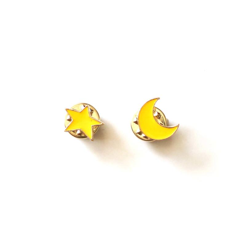 Moon & star pin