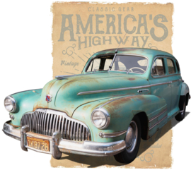 OLDTIMER HIGHWAY IRON ON TRANSFER