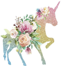 UNICORN BLOEMEN IRON ON TRANSFER