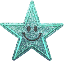 TURQUOISE GLITTER STER PATCH