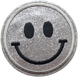 ZILVER GLITTER SMILEY PATCH