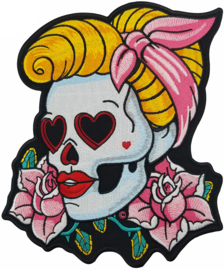 WOMAN SKULL RED LIPS XL PATCH