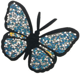 BLAUE RHINESTONE SCHMETTERLING PATCH
