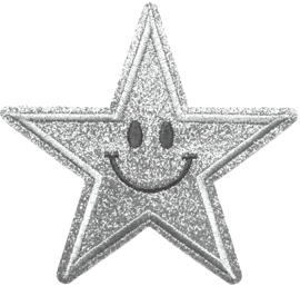 ZILVER GLITTER STER PATCH