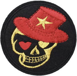 SKULL WITH RED HAT PATCH