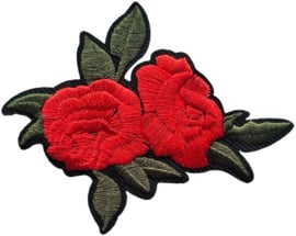 RODE BLOEMEN PATCH