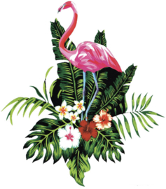 FLAMINGO FLOWER IRON ON TRANSFER