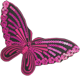 VLINDER ROZE PAILLETTEN PATCH