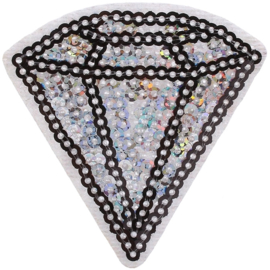 ZILVEREN DIAMANT PAILLETTEN PATCH