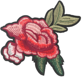 ROSA ROTER BLUMEN PATCH