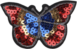 RED BLUE PAILLETS BUTTERFLY PATCH