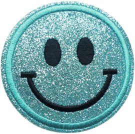 SMILEY TURQUOISE GLITTER PATCH