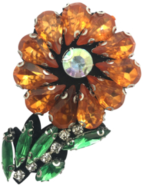3D ORANGE BLUMEN STRASS PATCH