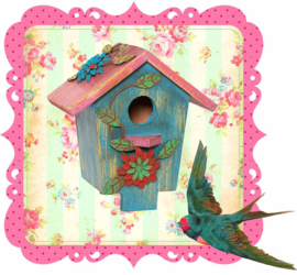 BIRDHOUSE IRON ON TRANSFER