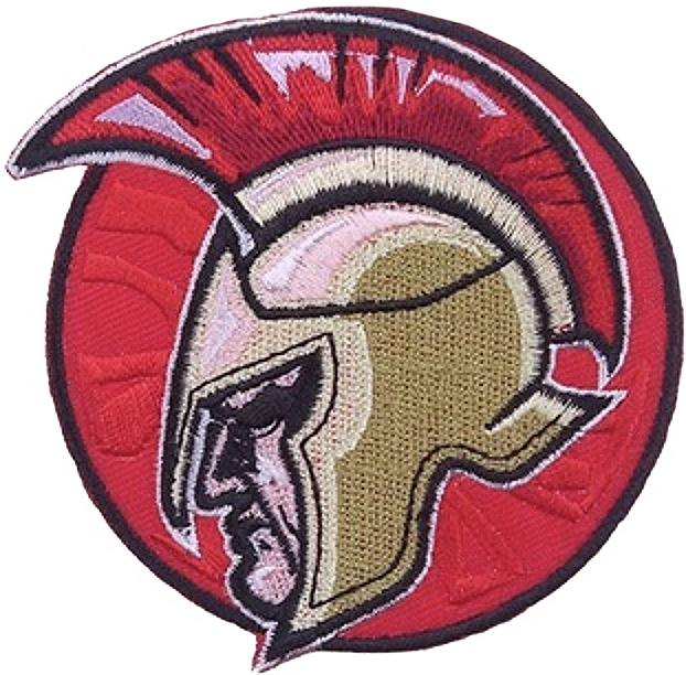 ROUND RED WARRIOR HEAD PATCH