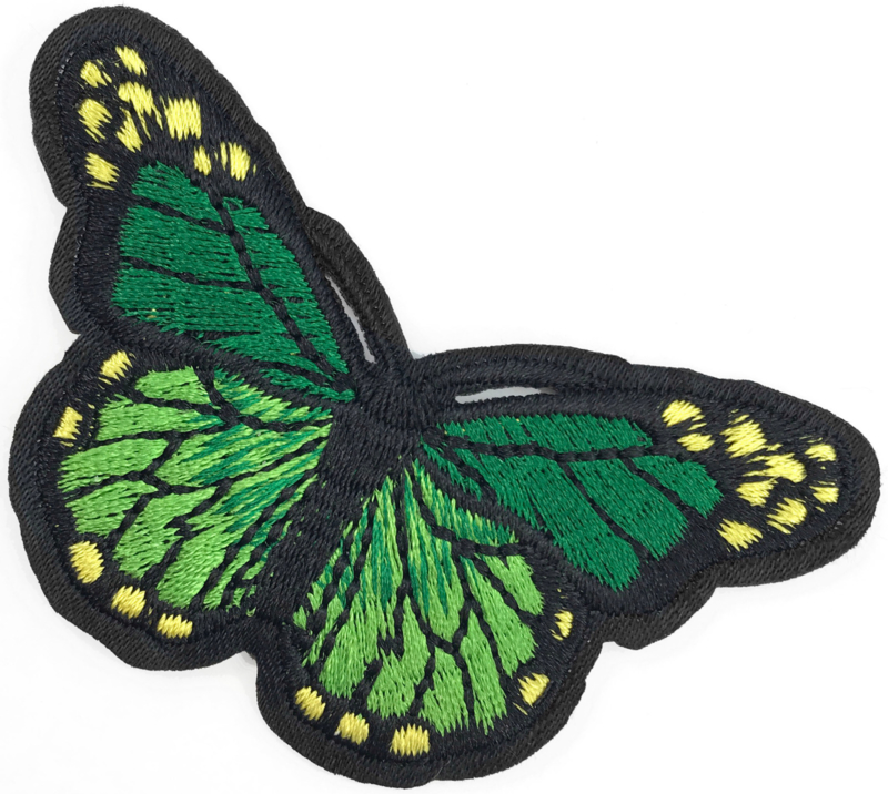 GREEN M BUTTERFLY PATCH